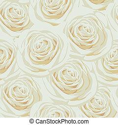 Nahtloses Muster mit beige Rosen.