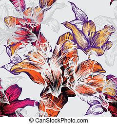 Nahtloses Muster mit blühenden Lilien