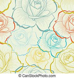 Nahtloses Muster mit farblichen Handzeichnungen Rosen.
