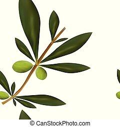 Nahtloses Muster mit großem Olivenbaumzweig.