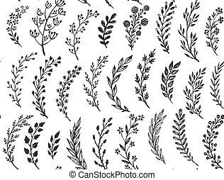 Nahtloses Muster mit hand gezeichneten Blättern und Ästen.