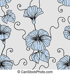 Nahtloses Muster mit Handzeichnen Blumen, Blumen Illustration.