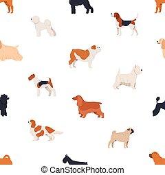 Nahtloses Muster mit Hunden verschiedener Rassen auf weißem Hintergrund. Backdrop mit süßen reinrassigen Haustieren verschiedener Arten. Flat Cartoon Vektor Illustration für Verpackungspapier, Textildruck.