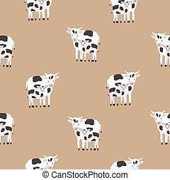 Nahtloses Muster mit Kuh und Kalb in schwarzen und weißen Flecken. Backdrop mit süßen Cartoon-Tiere auf braunem Hintergrund. Farbige Vektorgrafik für Textildruck, Tapete, Verpackungspapier.