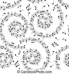 Nahtloses Muster mit Musiknotizen - vektorischer Hintergrund mit Spirale.
