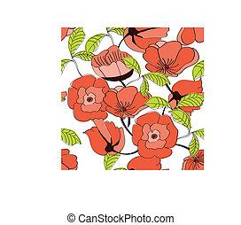 Nahtloses Muster mit roten Blumen.