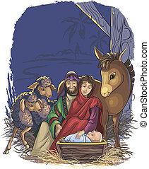 Naivitätsszene mit der heiligen Familie