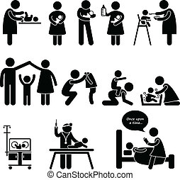 Nanny-Mutter-Vater-Kinderpflege