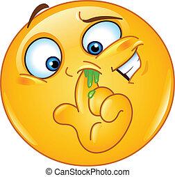 Nasen-Emoticon pflücken