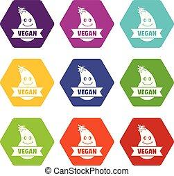 Natürliche Aubergine-Icons setzen 9 Vektor.