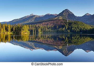 Natürliche Bergszene mit einem wunderschönen See in der Slowakei Tatra - Strbske pleso