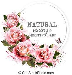 Natürliche Grußkarte mit Rosen. Vector.