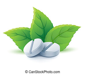 Natürliche medizinische Pillen mit grünen Blättern