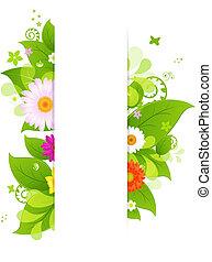 Natürlicher Hintergrund mit Blättern und Blumen