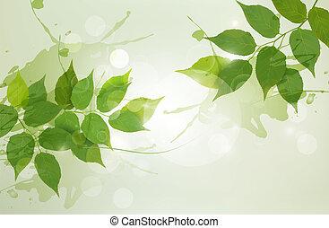 Natürlicher Hintergrund mit grünen Frühlingsblättern. Vektor Illustration.