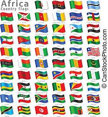 national, vektor, satz, fahne, afrikanisch
