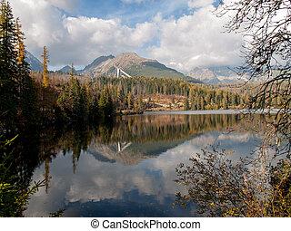 Natur Bergszene mit schönem See in der Slowakei Tatra - Strbske pleso