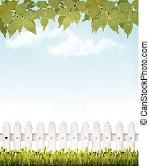 Natur-Hintergrund mit grünen Blättern und weißem Französisch. Vector.