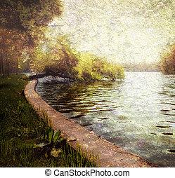 Natur serene Pastel - Bäume und See