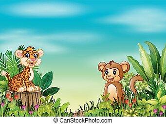 Natur-Szene mit einem Leopardenbaby, das auf Baumstumpf und Affen sitzt.