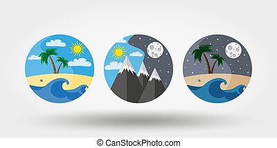 Natur, Urlaub, Camping. Symbole, Logos .