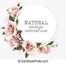 Natur Vintage Grußkarte mit Schönheitsblumen und Schmetterling. Vector.