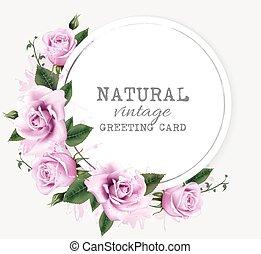 Natur Vintage Grußkarte mit Schönheitsblumen. Vector.
