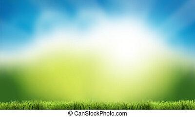 Naturgrüner Himmel blauer Himmel Natur Frühling Sommer 3d Render Hintergrund.