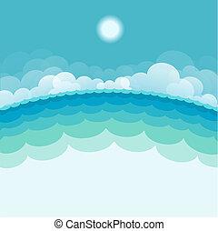 Naturlandschaft mit Meer und Sonne. Vektorblaue Illustration