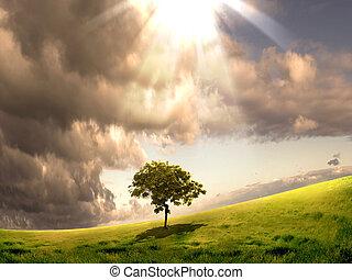 Naturlandschaft mit Wolken