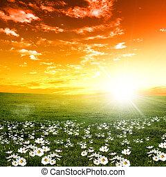 Naturlandschaft und Sonnenuntergang