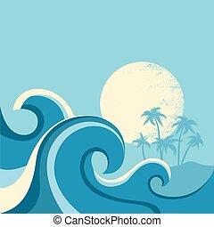 Naturseide-Poster mit Seewellen und Sun.Vector blaue Illustration