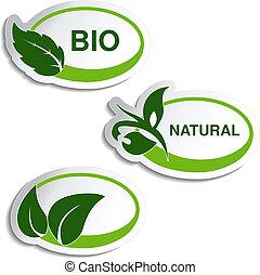 Natursymbol des Vektors - Aufkleber mit Blatt, Pflanze