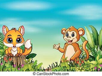 Naturszene mit einem kleinen Fuchs, der auf Baumstumpf und Affen steht.