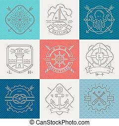 Nautical, adventures and travel emblems Zeichen und Etiketten - Line Zeichnung Vektor Illustration.