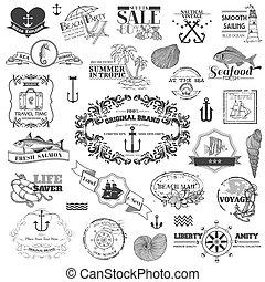 Nautical Sea Calligraphic Elements - für Sammelalbum und Design im Vektor