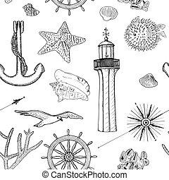 Naval nahtlose Vektormuster setzen nautische Silhouette Symbole. Möwen, Steuer, Lenkrad, Anker, Lichthaus, Schale, Windrose, Seestern, Seestern
