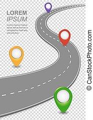 Navigation in der Straße. Highway Template mit kurvenfreiem Auto, Roadmap mit Kartenpins.