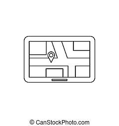 Navigations-Icon, Umriss-Stil.