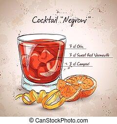 Negroni-alkoholischer Cocktail.