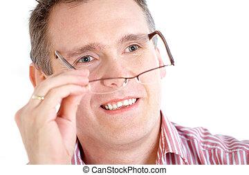 nehmen, mann, aus, brille
