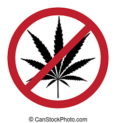 nein, drogen, symbolisch, cannabis, abbildung, frei