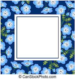 Nemophila babyblaue Augen blühen auf der Indigo-Bannerkarte