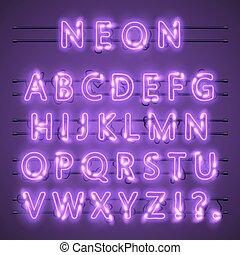 Neon-Banner-Text. Neon-Schrift-Stadtfarbe lila, Alphabet-Schrift. Vector Illustration