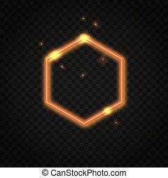 Neon orange Hexagon Rahmen mit Platz für Text