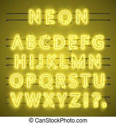Neon-Schrift-Stadt-Text, gelbes Alphabet, Vektorgrafik.