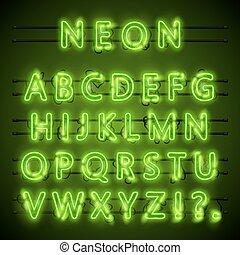 Neon-Schriftstadt. Neongrüner Schriftzug. Lampgrüne Schrift. Alphabet-Schrift. Vector Illustration