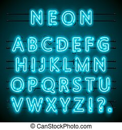 Neon-Schrifttext. Blue English Lamp. Alphabet. Vector Illustration