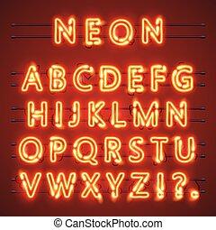 Neon-Schrifttext. Lampenzeichen. Alphabet. Vector Illustration