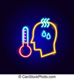neon, temperatur, hoch, zeichen, menschliche